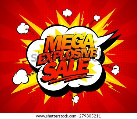 Mega explosive sale design, comics style, rasterized version. - stock photo
