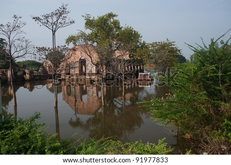 Mega flood in 50 years at ancient temple in Ayuttaya historical park,Middle of Thailand. - stock photo