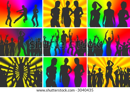 mega-party, rainbow and laser light background