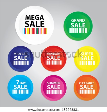 Mega Sale : Grand sale, Midyear sale, Midnight sale, Super sale, sevenday sale, Summer sale, Clearlance sale sticker, tag, label, symbol on gray background - jpg format. - stock photo