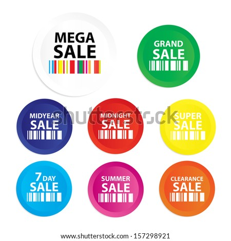 Mega Sale : Grand sale, Midyear sale, Midnight sale, Super sale, sevenday sale, Summer sale, Clearlance sale sticker, tag, label, symbol on white background - jpg format. - stock photo