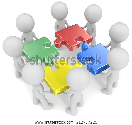 Mega Team. The dude x 8 holding disassembled puzzle pieces. Red, green, blue and yellow. - stock photo