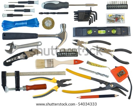 Mega tools set  for the house master. Isolated on white. With all devices clipping patches. - stock photo
