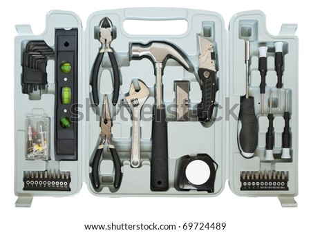 Mega tools set  in box for the home  master. Mass production. Isolated on white with patches - stock photo