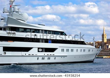 Mega yacht in Malta on sunny day - stock photo