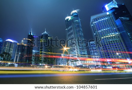 Megacity Highway at night dusk light trails in shanghai China - stock photo