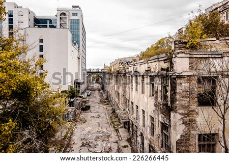 megacity slums, Devolanovsky downhill, Odessa - stock photo