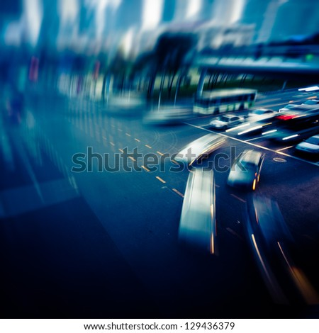Megaicity Highway at night with light trails in shanghai china. - stock photo