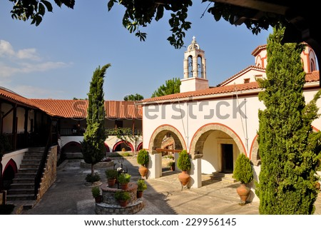 Megali Panagia monastery churchyard, Samos, Greece - stock photo