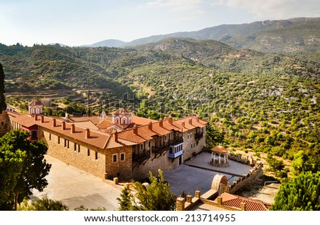 Megali Panagia monastery, The most important Orthodox church on Samos island, Greece - stock photo