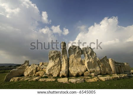 Megalithic Temples of Hagar Qim, a UNESCO site in Malta - stock photo