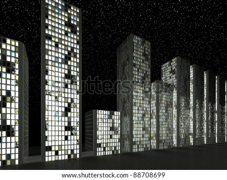 Megalopolis: Abstract modern buildings in a row at night - stock photo