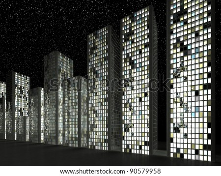 Megalopolis: Abstract skyscrapers in a row at night - stock photo