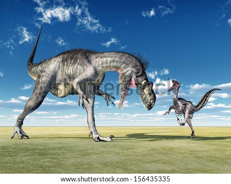Megalosaurus and Velociraptor Computer generated 3D illustration - stock photo