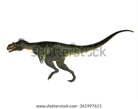 Megalosaurus Side Profile - Megalosaurus was a large carnivorous theropod dinosaur that lived in the Jurassic Period of Europe. - stock photo
