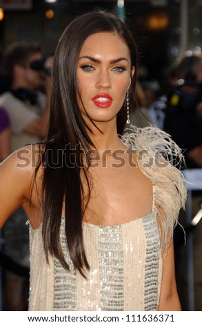 "Megan Fox at the Los Angeles Premiere of ""Transformers"". Mann's Village Theater, Los Angeles, CA. 06-27-07"