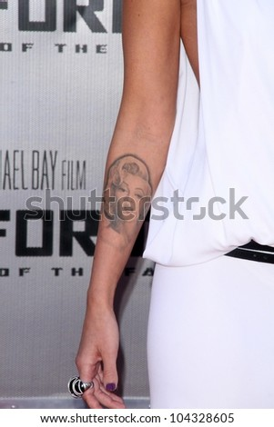 Megan Fox's Tattoo  at the Los Angeles Premiere of 'Transformers Revenge of the Fallen'. Mann Village Theatre, Westwood, CA. 06-22-09 - stock photo