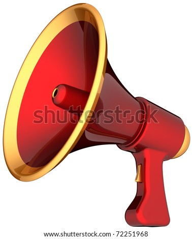 Megaphone alarm announcement. Contemporary shiny colorful (red with golden parts) loudspeaker. Propaganda warning news help concept. This is a detailed render 3d (Hi-Res). Isolated on white background - stock photo