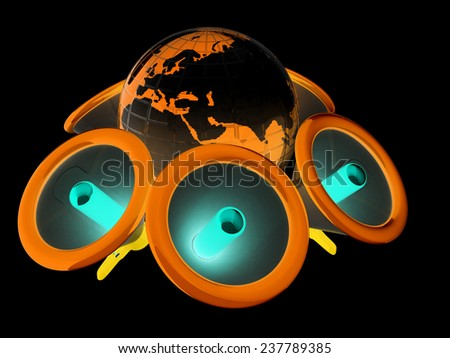 Megaphone and earth.Isolated on black background.3d rendered - stock photo