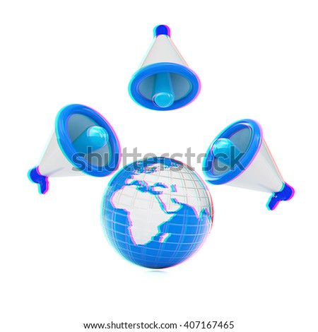 Megaphone and earth.Isolated on white background.3d rendered. 3D illustration. Anaglyph. View with red/cyan glasses to see in 3D. - stock photo
