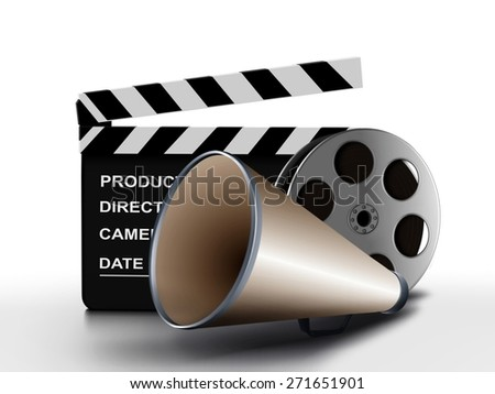 Megaphone and film reel with clapper board - stock photo