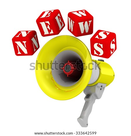 """Megaphone and the word NEWS. Three-dimensional illustration of a megaphone (electric horn) and the word """"NEWS"""" made from red cubes. Isolated - stock photo"""
