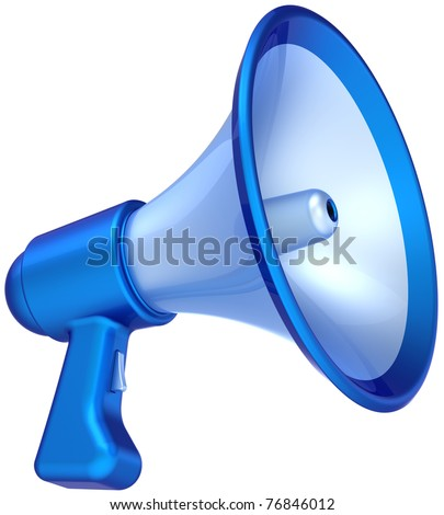 Megaphone announcement news message colored blue. Bullhorn loudspeaker communication symbol classic. Help education concept. This is a detailed CG 3D render (Hi-Res). Isolated on white background - stock photo