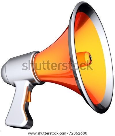 Megaphone announcement news. Modern stylish colorful (orange with silver parts) loudspeaker. Multimedia propaganda warning broadcast concept. This is a detailed render 3d. Isolated on white background - stock photo