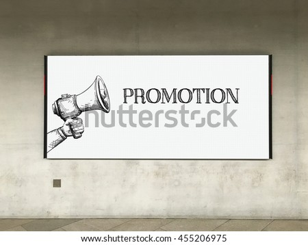 MEGAPHONE ANNOUNCEMENT PROMOTION ON BILLBOARD - stock photo