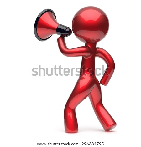 Megaphone character man promotion speaking stylized making sale advertisement announcement news red human cartoon guy speaker person communication people shout figure icon concept 3d render - stock photo