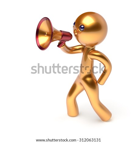 Megaphone character man speaking bullhorn making announcement news golden stylized human cartoon guy speaker person communication people yellow speaker figure icon concept 3d render isolated - stock photo