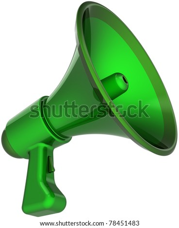 Megaphone communication announcement blog colored green. Bullhorn loudspeaker news message symbol. Agreement notify concept. This is a detailed CG image 3D render. Isolated on white background - stock photo