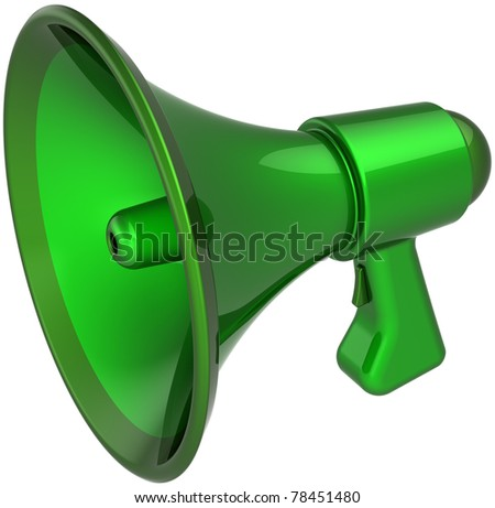 Megaphone communication blog announcement colored green. Loudspeaker bullhorn news message symbol. Notify agreement concept. This is a detailed CG image 3D render. Isolated on white background - stock photo