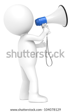 Megaphone. 3d little human character with a Megaphone. Blue and white. Side view.  People series. - stock photo