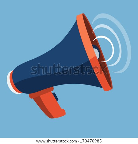 Megaphone Flat Icon - stock photo