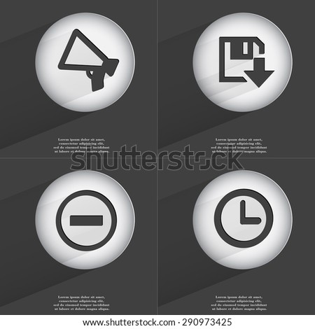 Megaphone, Floppy disk download, Minus, Clock icon sign. Set of buttons with a flat design. illustration - stock photo