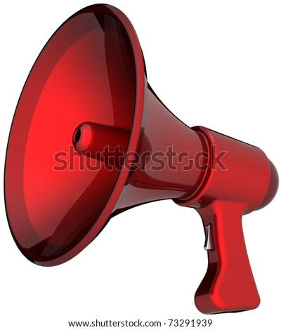 Megaphone hot news announcement alarm colored red. Beautiful shiny rescue loudspeaker. Help support leadership concept. This is a detailed render 3d (Hi-Res). Isolated on white background - stock photo