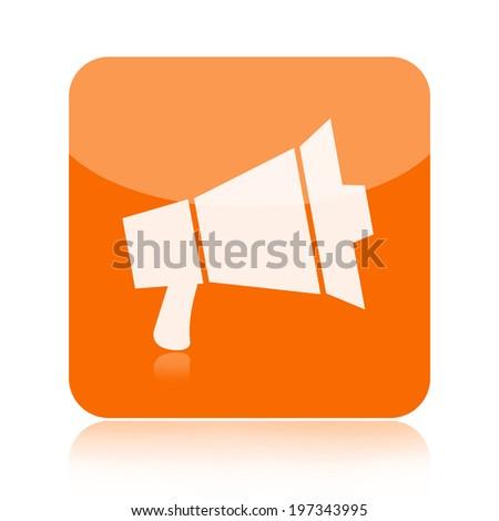 Megaphone icon isolated on white background - stock photo