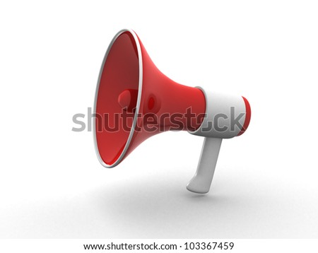 megaphone isolated on white. 3d render - stock photo