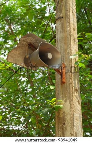 Megaphone on the poles. - stock photo