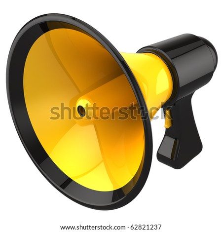 Megaphone shiny and colorful (yellow with black parts). This is a detailed 3D render (Hi-Res). Isolated on white - stock photo