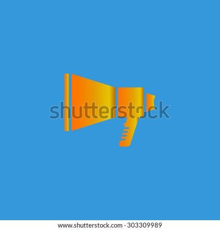 Megaphone. Simple flat icon on blue background - stock photo
