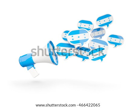 Megaphone with flag of honduras isolated on white. 3D illustration