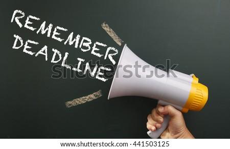 megaphone with text member deadline - stock photo