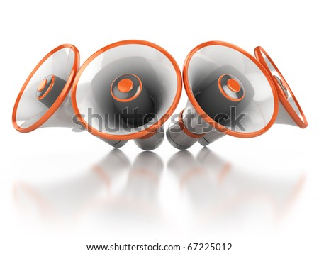 megaphones isolated on white background 3d illustration - stock photo