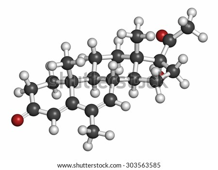 Megestrol molecule. Megestrol acetate, the ester of megestrol is used as an appetite stimulant and cancer drug. Atoms are represented as spheres with conventional color coding: hydrogen (white), etc