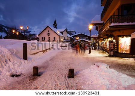 Megeve Ski Resort at French Alps in the Night - stock photo