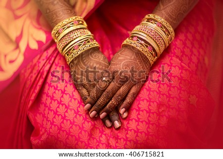 Mehndi, application of henna as skin decoration in Indian Wedding.