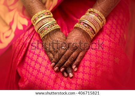 Mehndi, application of henna as skin decoration in Indian Wedding. - stock photo