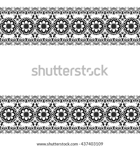Mehndi Henna line lace floral element pattern card for tattoo on white background. Illustration isolated